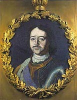 Peter the Great. Mosaic of the 18th century